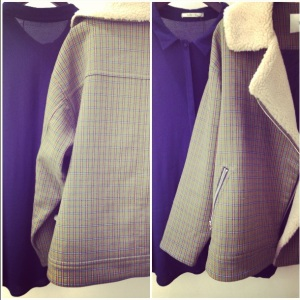 Gray/olive chequered cropped coat w/ wool collar +  dark navy blue long button up cotton shirt.
