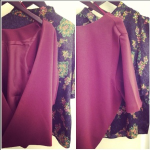 Silky flora button up shirt w/black background + Dark burgundy open back top (fav*)