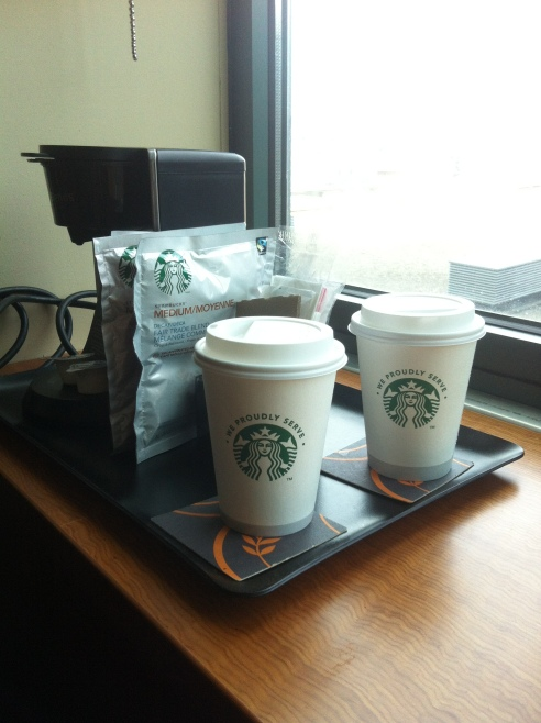 Some Hotels offer the complementary in-room Starbucks coffee