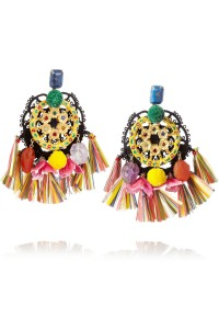 Ruota Carretto gold-plated tasseled clip earrings