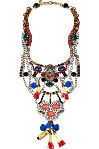Tribal Patchwork gold-plated Swarovski crystal bib necklace.