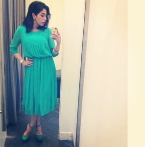 French cut, emerald green pleated dress. Every woman needs that [one] dress per season. Gorgeous color, perfect fit & I love how it made me feel like [super woman]